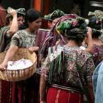 Nebaj market traditional dress on display